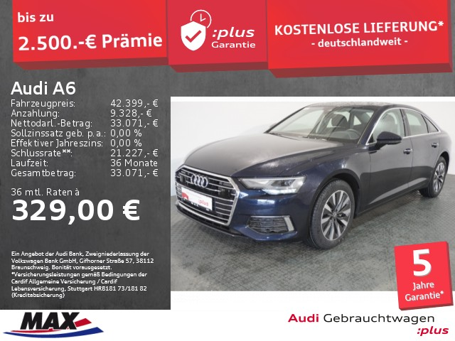 Audi A6 Limousine 40 TDI DESIGN QUATTRO LED+VC+KAMERA, Jahr 2020, Diesel