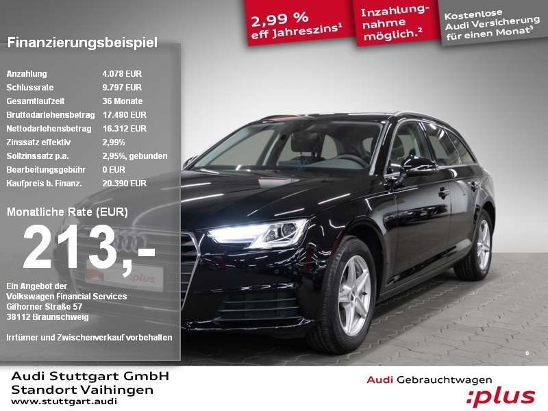 Audi A4 Avant 2.0 TDI Xenon Navi connect PDCplus LMF, Jahr 2017, Diesel