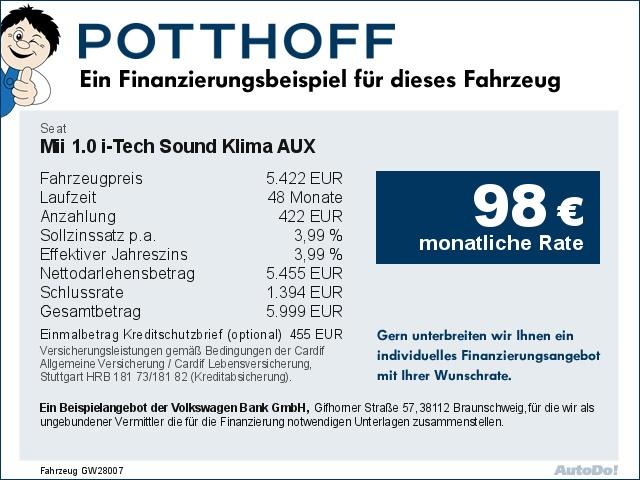 Seat Mii 1.0 i-Tech Sound Klima AUX el. Fenster, Jahr 2014, Benzin