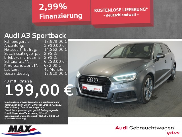 Audi A3 Sportback 2.0 TDI QUATT. SPORT S LINE+LED+PDC, Jahr 2017, Diesel