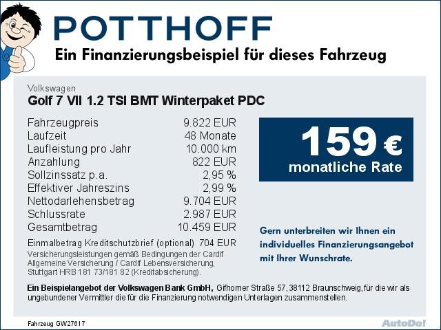 Volkswagen Golf 7 VII 1.2 TSI BMT Winterpaket PDC Klima, Jahr 2014, Benzin