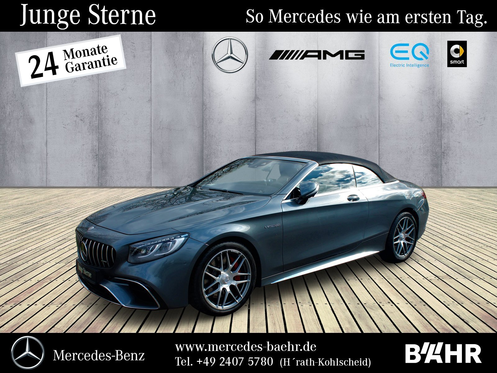 Mercedes-Benz S 63 AMG 4M+ Cabrio Comand/ILS/Burmester/Head-Up, Jahr 2018, Benzin