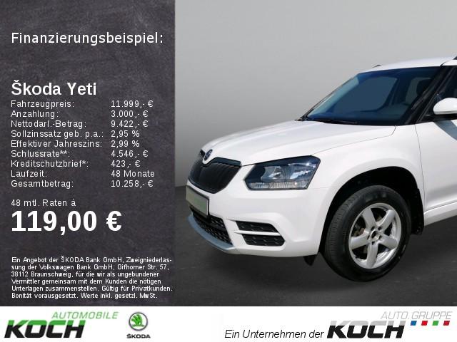 """Skoda Yeti Active Beheizbare Vordersitze Klimaanlage Parksensoren hinten Radio """"SWING"""", Jahr 2015, diesel"""
