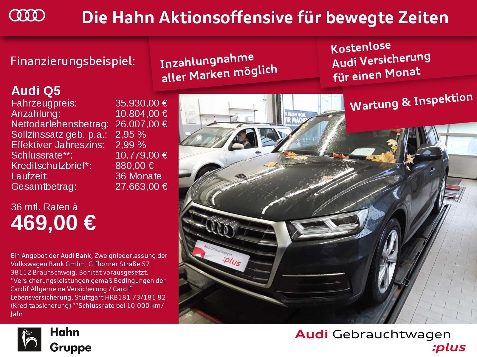 Audi Q5 2.0TDI qua. S-trc Navi AHK-Vorb. LED Sitzh Einpark, Jahr 2017, Diesel