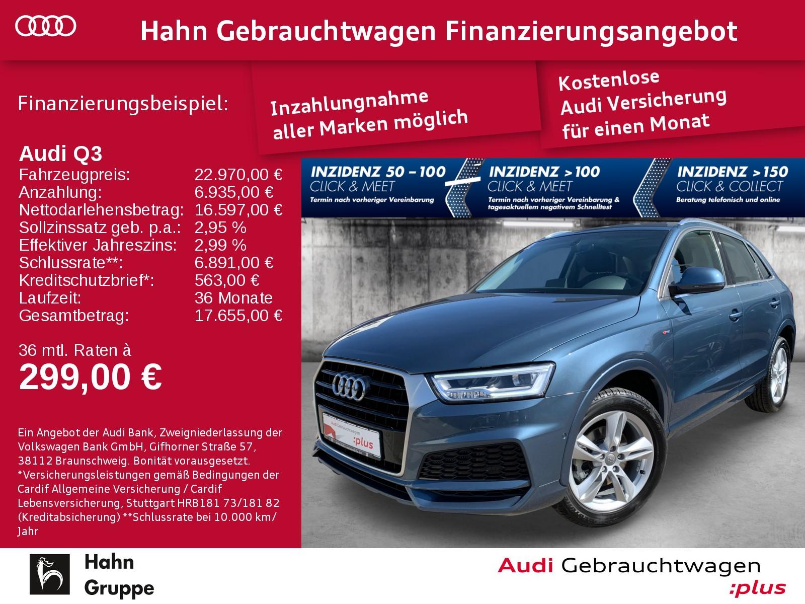 Audi Q3 2.0 TDI S-trc S-line Navi LED Pano Sitzh, Jahr 2018, Diesel