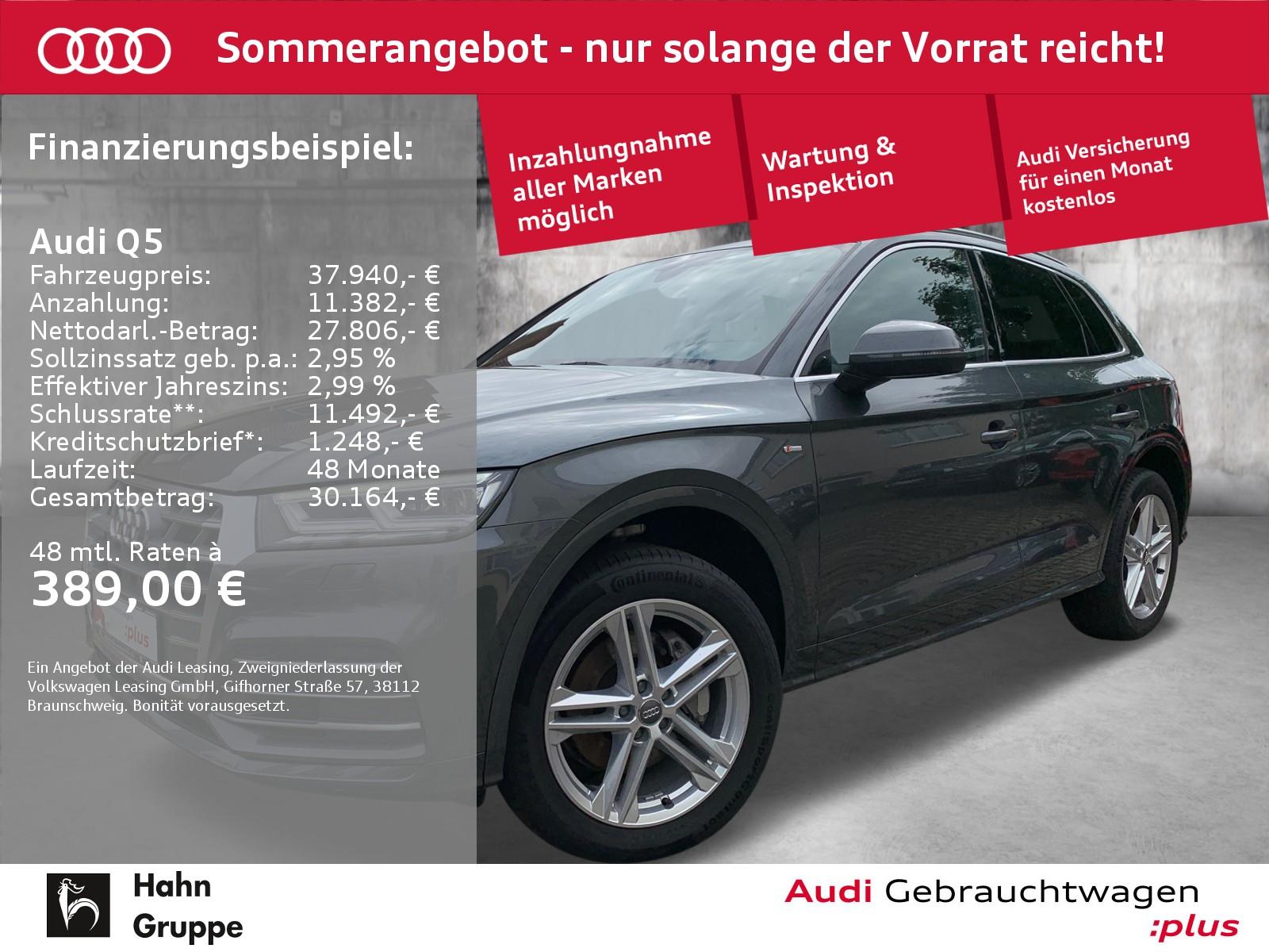 Audi Q5 2.0TDI qua S-trc S-line LED Pano GRA Navi, Jahr 2017, Diesel