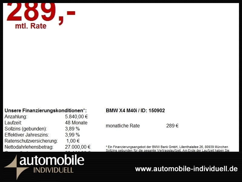 BMW X4 M40i LED Navi HuD TV H&K AHK, Jahr 2017, Benzin