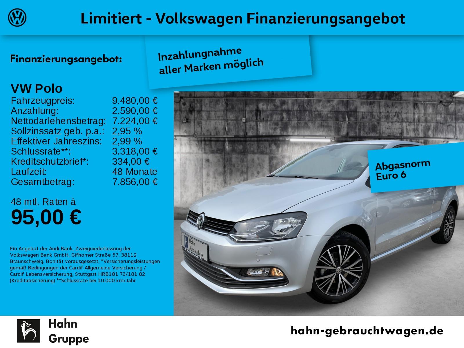 Volkswagen Polo 1.0 Allstar Einpark Climatr Sitzh ZV, Jahr 2016, Benzin