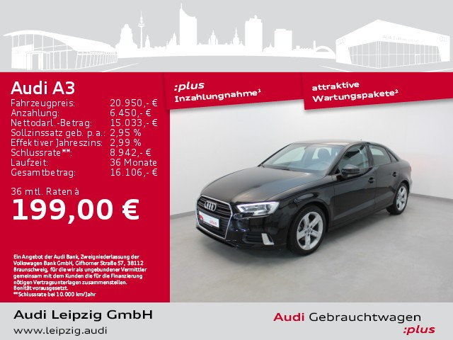 Audi A3 Limousine 1.5 TSI sport *Xenon*Navi*, Jahr 2018, Benzin