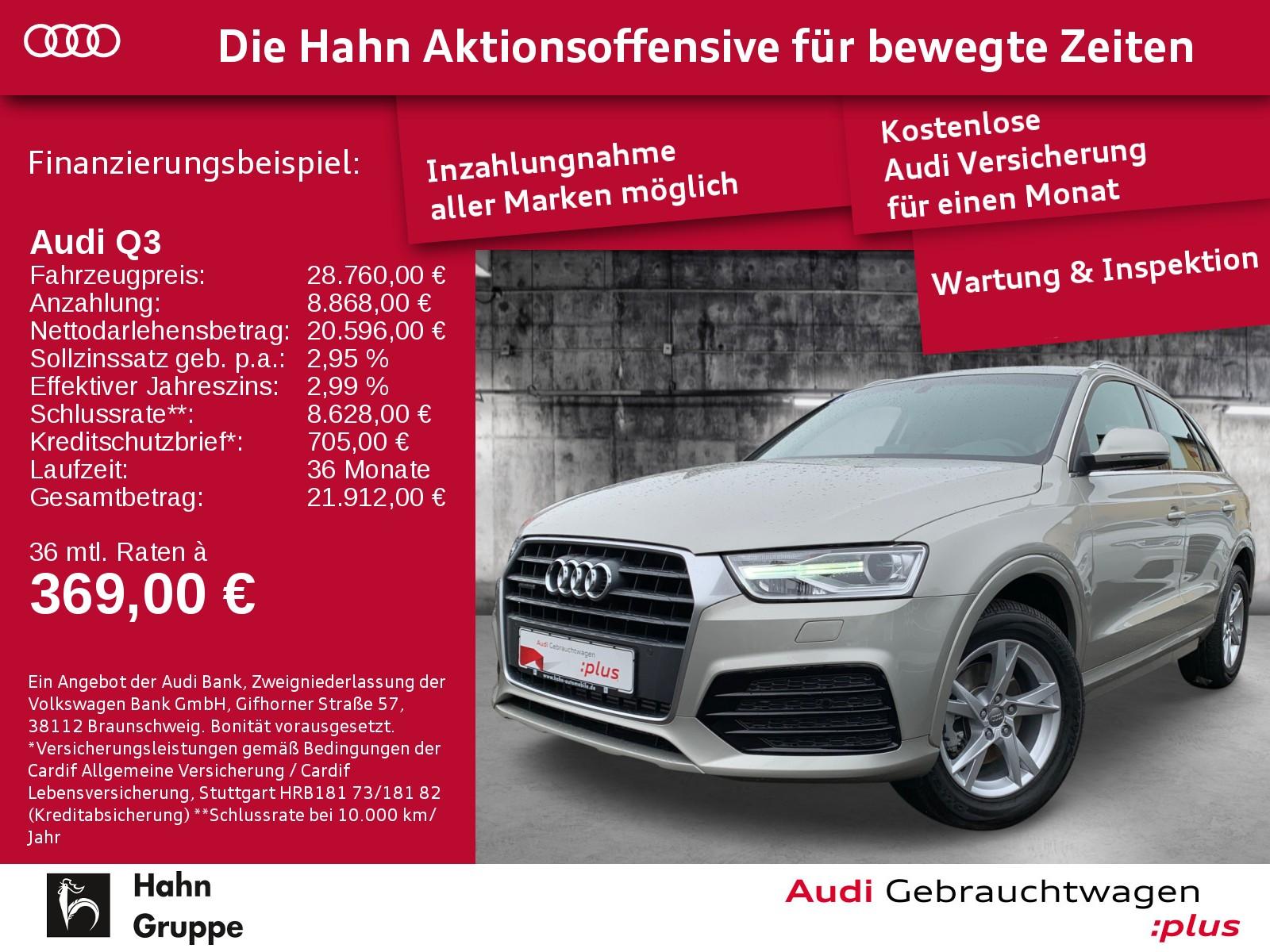 Audi Q3 2.0TFSI qu. S-Trc Sport Xen+ SitzH EinparkH, Jahr 2017, Benzin