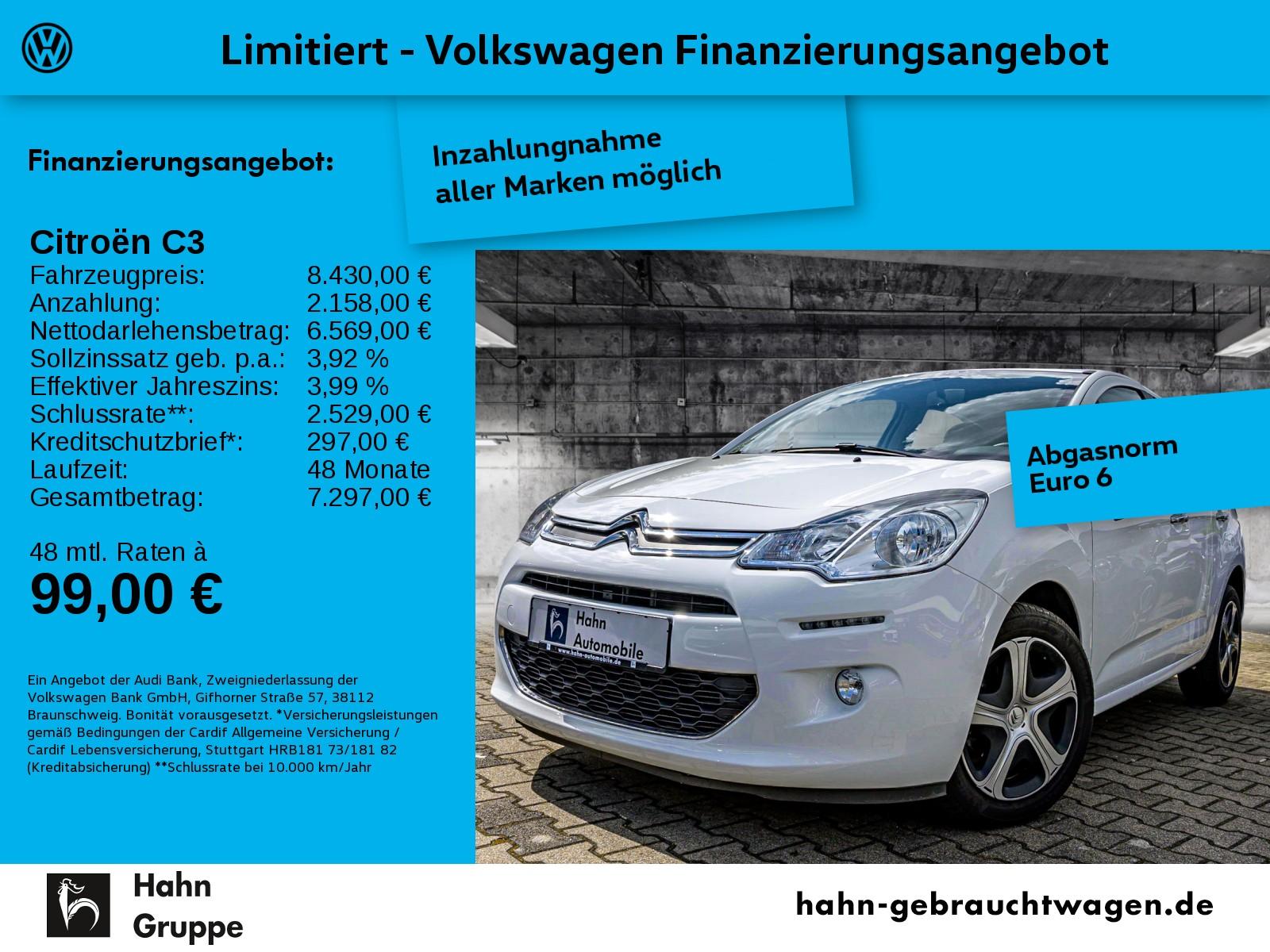 Citroën C3 Citroën Selection 1.2 Klima ZV Tempo Start/Stopp, Jahr 2016, Benzin