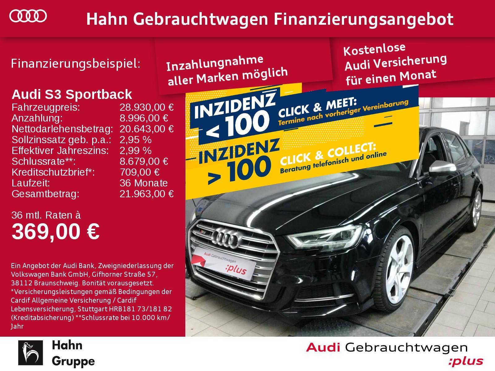Audi S3 Sportback 2.0TFSI qu. LED B&O Einpark Sitzh, Jahr 2016, Benzin