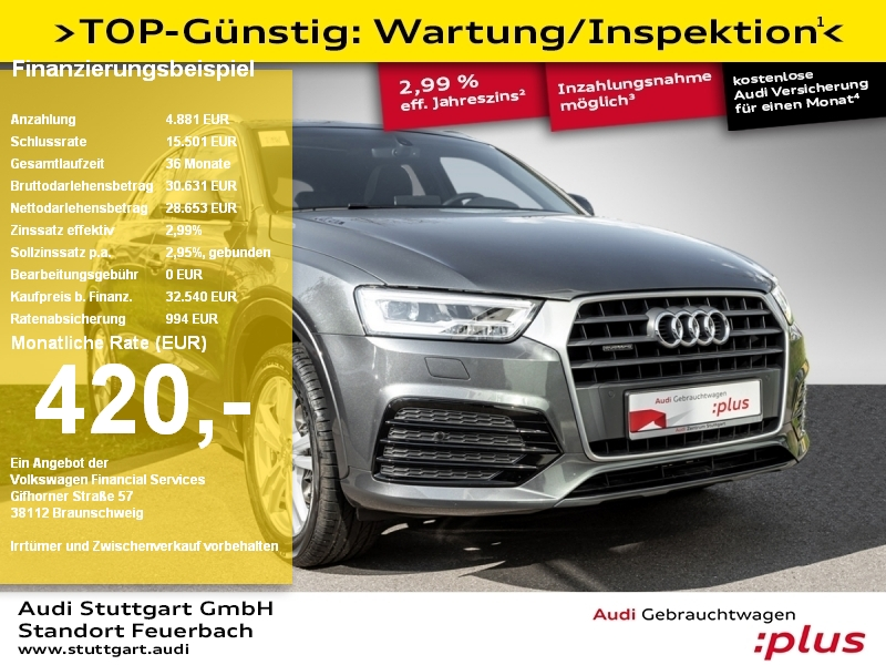 Audi Q3 sport 2.0TDI quattro S line AHK LED Pano Navi, Jahr 2017, Diesel
