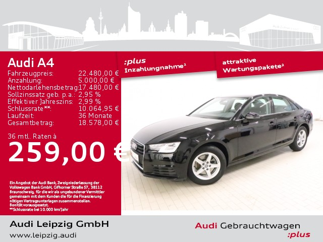 Audi A4 Limousine 1.4 TFSI basis*Audi pre sense city*, Jahr 2018, Benzin