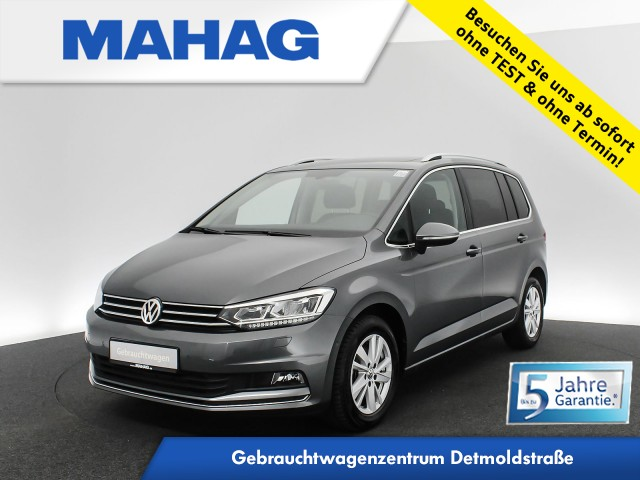 Volkswagen Touran 2.0 TDI Highline 7-Sitzer Navi LED Panorama eKlappe Sitzhz. ParkAssist FrontAssist 17Zoll 6-Gang, Jahr 2020, Diesel