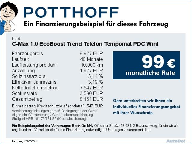 Ford C-Max 1.0 EcoBoost Trend Telefon Tempomat PDC Wint, Jahr 2014, Benzin