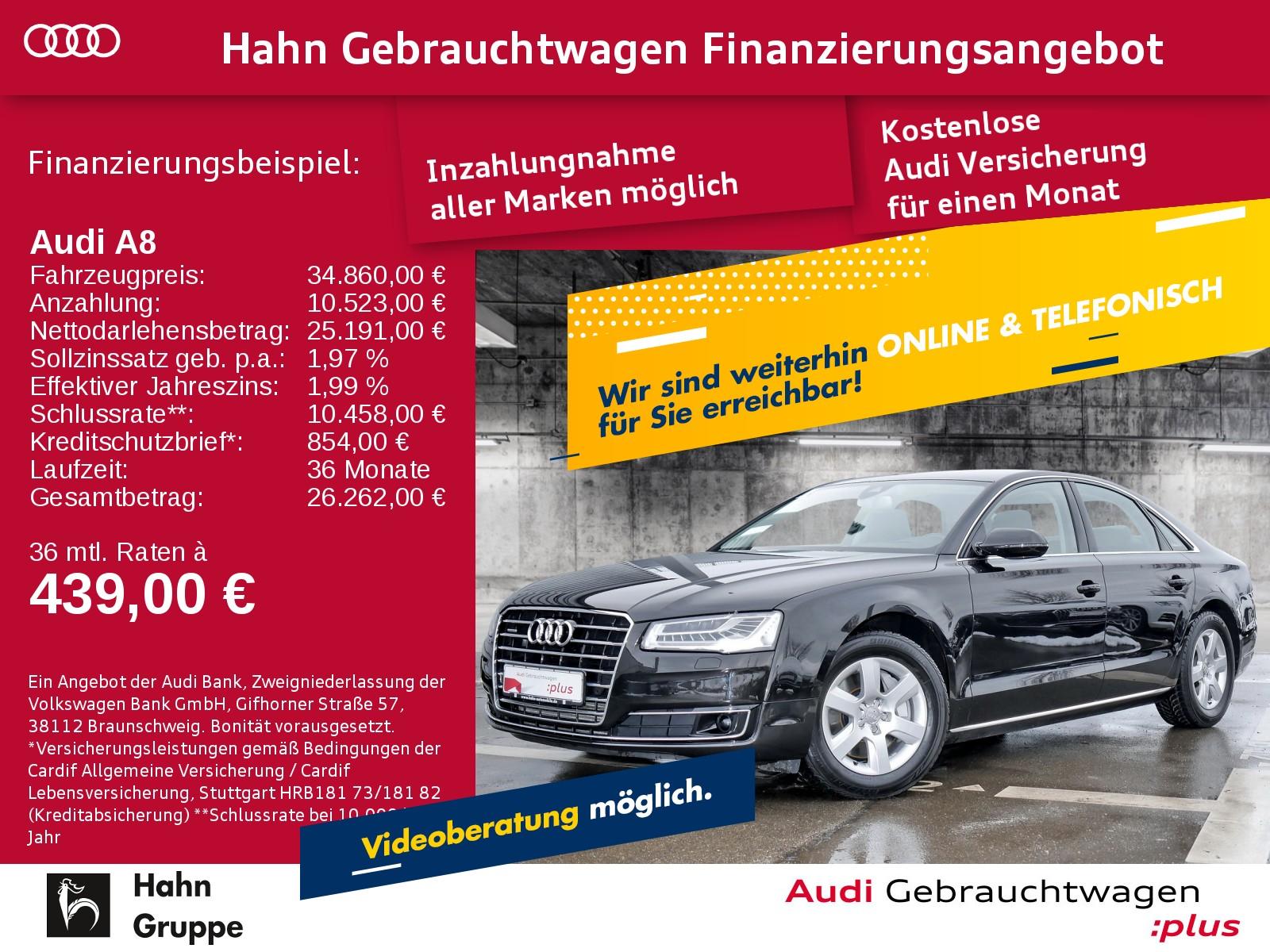 Audi A8 3.0TDI EU6 qu. Tip Matrix Navi HUD CAM, Jahr 2016, Diesel