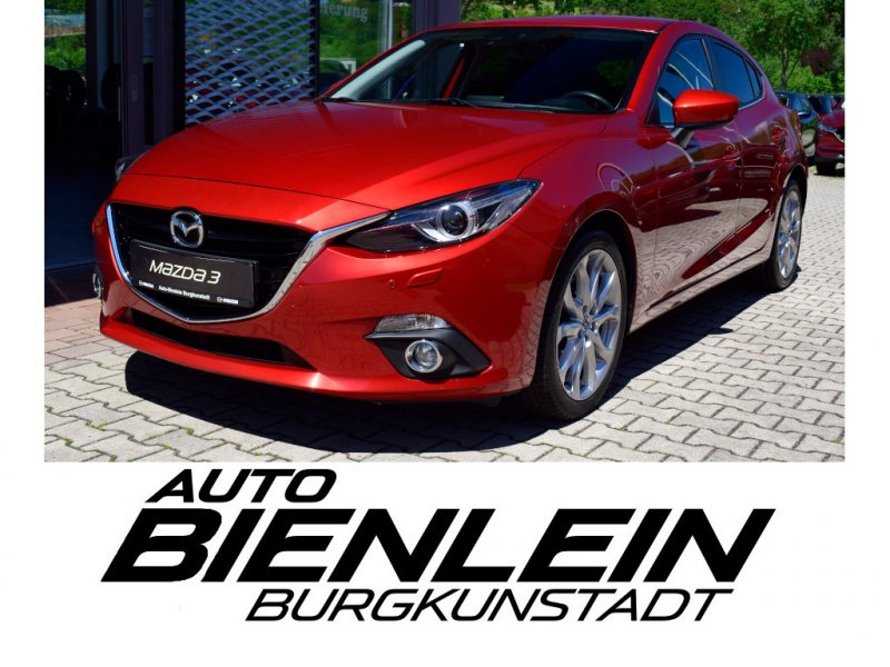 Mazda 3 2.0 165PS Sports-Line Leder schwarz Navi Bose Bi-Xenon Einparksensoren vorne und hinten HUD Sitzheizung uvm., Jahr 2013, Benzin