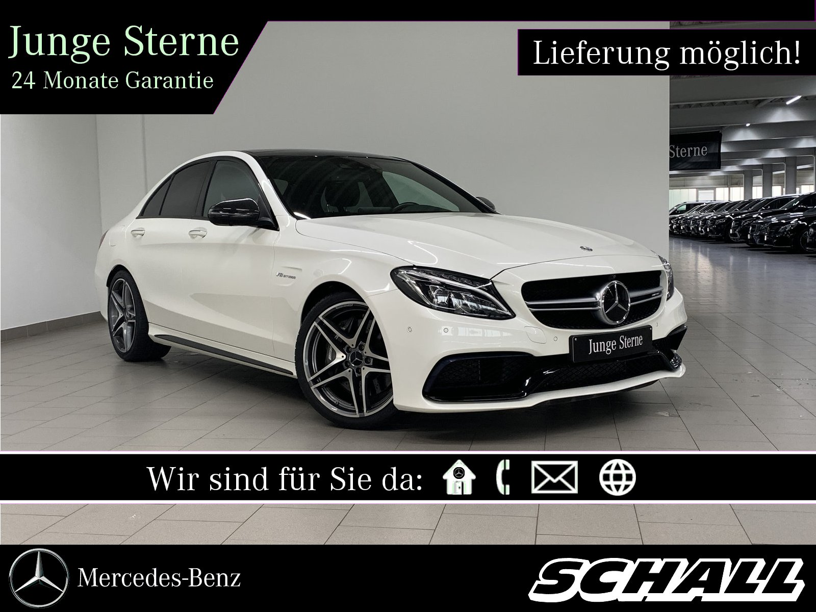 "Mercedes-Benz C 63 AMG PERF.ABGAS+CARBON II+NIGHT+PANO+19""AMG, Jahr 2017, petrol"