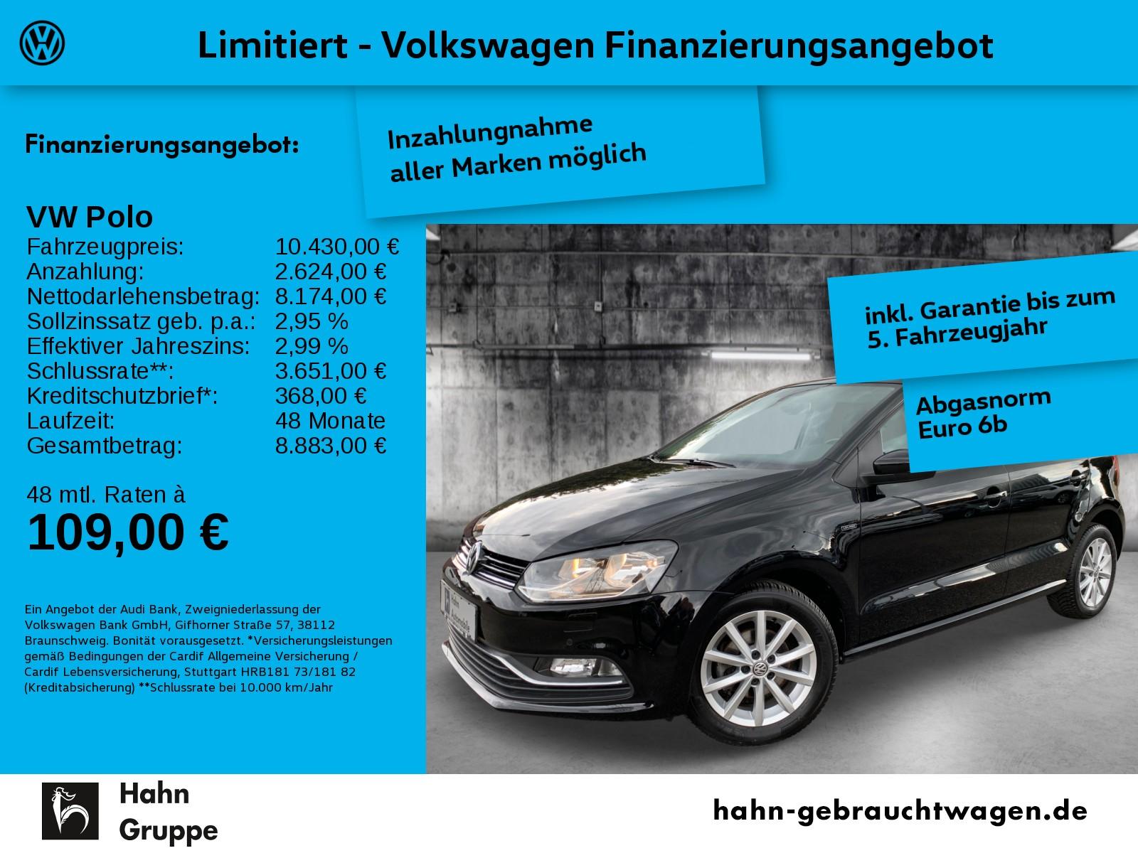 Volkswagen Polo LOUNGE 1,0 Klimaaut Einpark Sitzhz Tempomat, Jahr 2016, Benzin