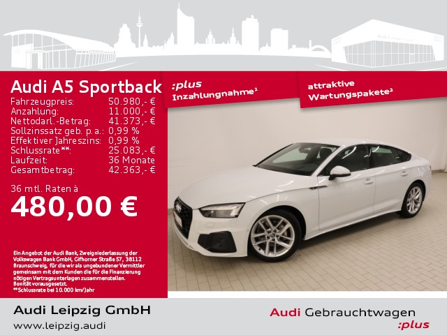 Audi A5 Sportback 40 TDI quattro *Businesspaket*HuD*, Jahr 2020, Diesel
