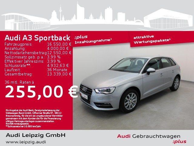 Audi A3 Sportback 1.6 TDI *Xenon*Navi*AHK*Standhzg*, Jahr 2016, Diesel