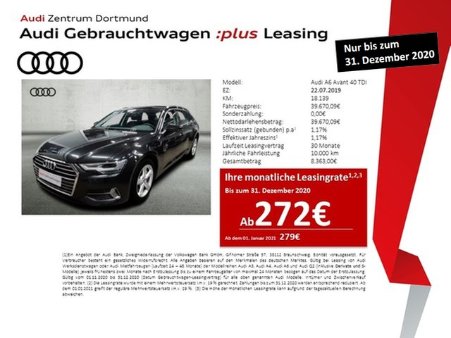 Audi A6 Avant sport 40TDI Navi+/Leder/Kamera/APS+, Jahr 2019, Diesel
